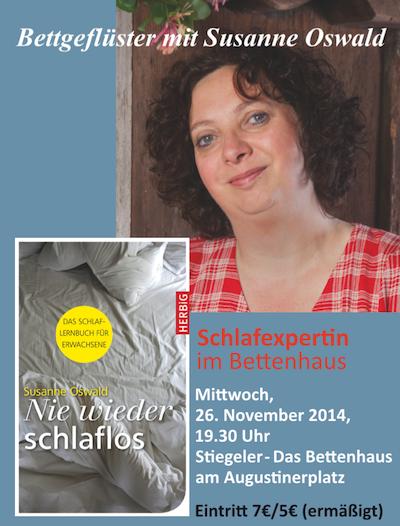 """Nie wieder schlaflos!  Lesung in der Literaturreihe """"Bettgeflüster"""" am 26.11. um 19:30 Uhr"""